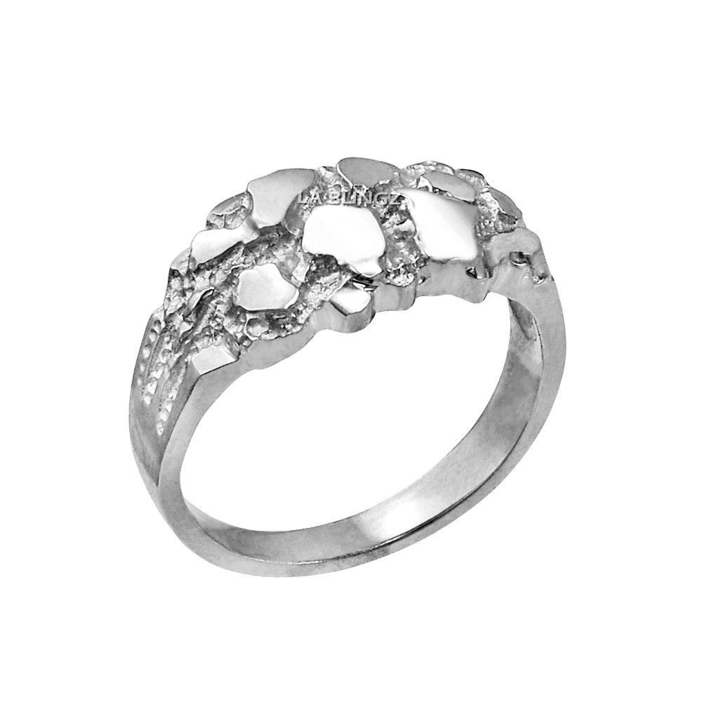 10K White Gold Elegant Nugget Ring