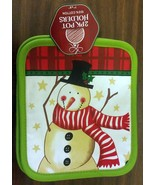 "Set of 2 Printed JUMBO Pot Holders, 7"" x 8"", WINTER SNOWMAN, w/ green back - $7.91"