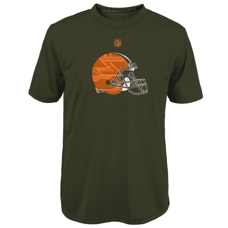 Cleveland Browns Boy's 8-18 Shirt NFL Power Grid Logo Short Sleeve Dri Tek Tee