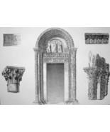 ITALY Pisa Baptistery Door Portal & Capitals - SUPERB 1843 Lithograph Print - $25.20