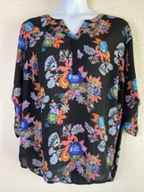 Gibson Latimer Womens Plus Size 2X Colorful Floral Tunic 3/4 Roll Sleeve - $18.36