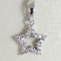 White Gold Pendant 750 18k, Stella, 1.7 CM Long, with zirconia, Made in Italy image 1