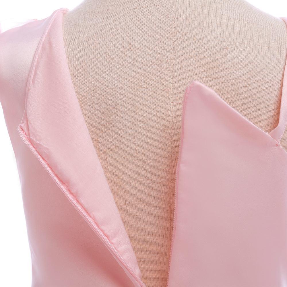 Sample One Shoulder Pink Satin Girls Party Gowns Sexy Mini Flower Girls Dresses image 4