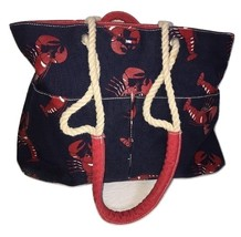 Tommy Hilfiger Navy Blue Nautical Marine Lobster Seafood Satchel Shopper Handbag - $59.99