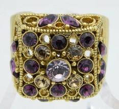 Vintage Gold Tone Purple Topaz Rhinestone Large Open Work Statement Ring... - $42.08