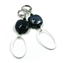 """EARRINGS BLACK SQUARE MURANO GLASS, OVAL PENDANT, 6.5cm 2.56"""" ITALY MADE image 1"""