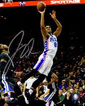 Jahlil Okafor signed Philadelphia 76ers 8x10 Photo (white jersey leap) - $16.95