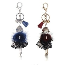 Doll Girl KEYCHAIN with Lace Skirt Fur & Sparkling Heels Floating - $20.80