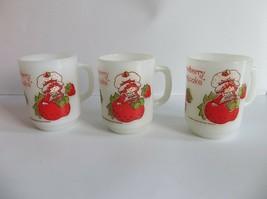 3 Vintage STRAWBERRY SHORTCAKE Doll Coffee Cups Mugs Milk Glass Anchor H... - $24.99