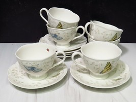 Set of 6 Lenox Butterfly Meadow Cups Saucers - $47.52