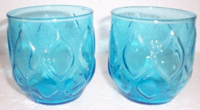 Anchor Hocking (2) Vintage Turquoise Blue Short Pressed Glass pattern Juice Coll