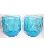 Anchor Hocking (2) Vintage Turquoise Blue Short Pressed Glass pattern Ju... - $26.99