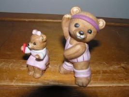 Lot of 2 Homco Porcelain Workout Exercise Girl & Child Bear on Chair Figurines – - $8.59