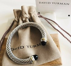 9f507bfd196f David Yurman Cable Classics Bracelet Black Onyx & 14K Gold 7mm | Med |  Authentic