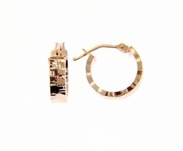 18K ROSE GOLD CIRCLE HOOP EARRINGS 14 x 4 MM WORKED KNURLED WAVE MADE IN ITALY image 1