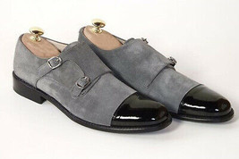 Two Tone Monks Black Gray Suede Leather Premium Quality Handcrafted Men's Shoes - $139.99+