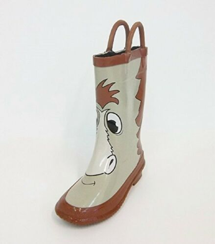 Storm Chief Kids Rubber Rain Boots Water Tan/brown HORSE Boy's Girl's Child NEW