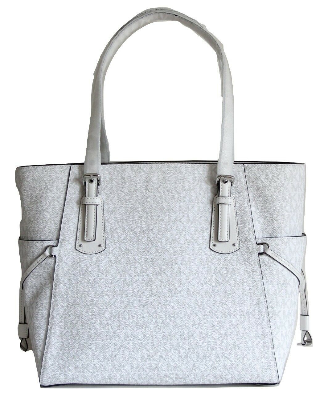 NWT MICHAEL KORS VOYAGER SIGNATURE EAST WEST TOTE BRIGHT WHITE image 5