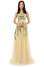 Cheap Long Champagne Prom Dresses Gown with Sequins, Formal Evening Party Dress  - $159.00