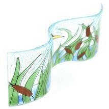 Fused Art Glass Blue Heron Cattails Wavy Decor Sun Catcher Handmade in Ecuador image 5