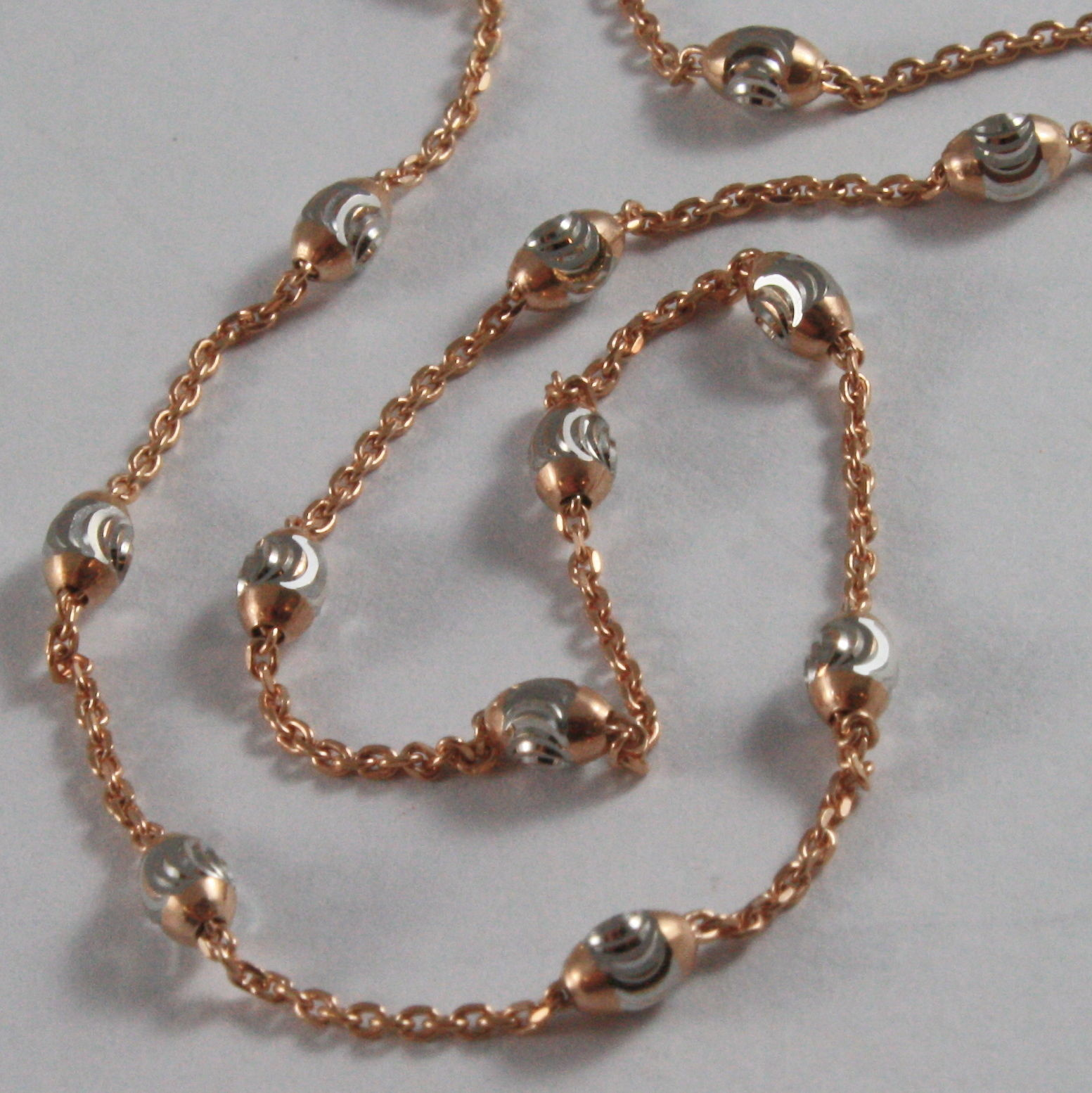 SOLID 18K ROSE & WHITE GOLD CHAIN NECKLACE MINI BALLS LINK 17.71 MADE IN ITALY