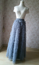GRAY Tiered Tulle Skirt Women High Waist Tier Tutu Skirt Outfit Party Prom Skirt image 3