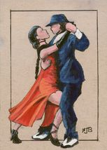 ACEO Original Painting Tango Dancers couple figure male female Spanish - $15.50