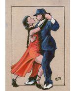 ACEO Original Painting Tango Dancers couple figure male female Spanish - $16.00