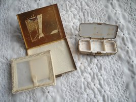 Vintage Stratton Rouge Compact Brown Top & Powder Compact USA Both Gold Tone 2 image 5