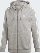 Adidas Originals Men's 3-Stripes FZ Hoodie NEW AUTHENTIC Grey ED5969 - $69.99