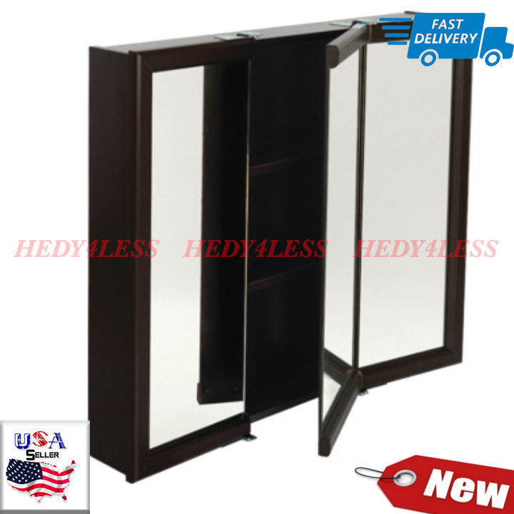 "Primary image for 30W x 26"" Surface Mount Tri-View Wood Mirrored Medicine Cabinet Espresso Finish"