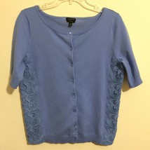 Talbots Womens Size Medium Medium Blue Cardigan Lace Details Short Sleeves - $29.69