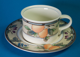 Mikasa Garden Harvest Flat Cup & Saucer Set Intaglio CAC29 Contemporary ... - $5.00