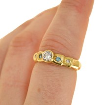 18K Yellow Gold ring with Blue Diamonds UK Ring size L BHS - $1,192.52