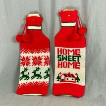 Home Sweet Home 2 Knit Christmas Liquor Bottle Sleeve Cover Reindeer Sno... - £10.25 GBP