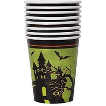 Haunted House Halloween 9 oz Paper Hot Cold Cups 8 Ct Owl Tree - €2,84 EUR