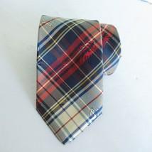 Psycho Bunny Tie Red Blue Tartan Plaid Preppy Silk Handmade Robert Godley - $23.36
