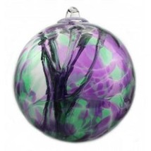 "6"" European Art Glass Spirit Tree ""IRIS BOUQUET"" Purple Green Witch Ball... - $41.23"