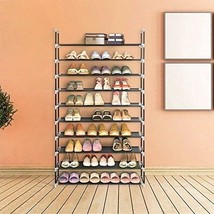 Perfect Shoe Storage Organizer 10 Tiers Shoe Rack Cabinet Tower Indoor B... - $50.34 CAD