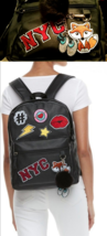 $60 BACKPACK Candies Black NYC Faux Leather/Fur Patches #Fox-Pom Keychai... - $23.98