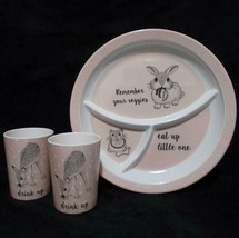 Childs Dish Set Plate Cups Eat Up Drink Up Cute Animals Bloomingville Me... - $19.79