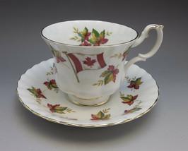 Royal Albert Canada Tea Cup Saucer Bone China Red Oak Leaf From Sea to Sea - $23.76