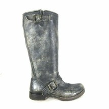 7.5 - Frye Distressed Dark Gray Leather 77609 Veronica Slouch Boots 1002RB - $110.00