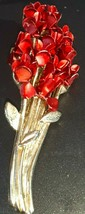 Dozen Long Stemmed Red Satin Enamel Roses Bouquet Pin (DM97 SIGNED) - £6.50 GBP