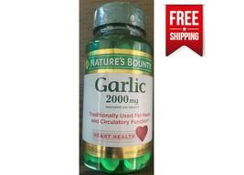 Natures Bounty Garlic 2000 mg Heart Blood Circulation Function 120 Tablets NEW - $9.75