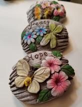 Decorative Stones Set of 3 Garden Decor Love Peace Hope Painted Rock image 2