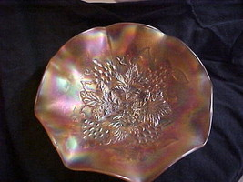 Northwood Marigold Carnival Grape Leaves Ruffled Bowl - $99.00