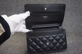 100% AUTH CHANEL 2018 Black Caviar Leather WOC Wallet on Chain WOC Bag SHW image 6