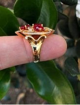 925 Sterling Silver Natural A+ Quality Garnet And Cz Gemstones 22k Gold Plated A image 4