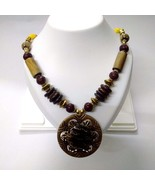 Necklace Pendant Wood Wooden Bead Handmade Jewelry Ethnic Boho Chic Fusi... - $13.85